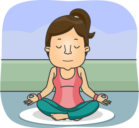 Illustration of a Meditating Woman Doing the Lotus Position