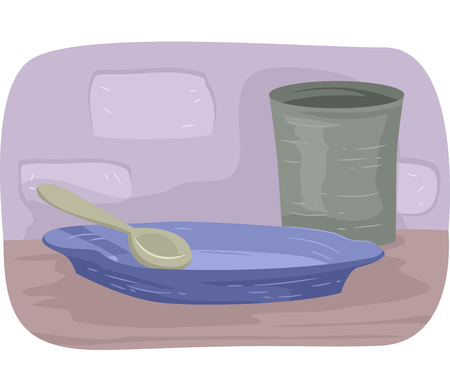 famine: Illustration Featuring an Empty Glass and Plate Stock Photo