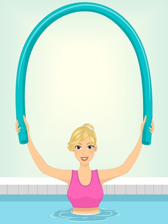 Illustration of a Woman Using a Pool Noodle to Work Out Stock Photo