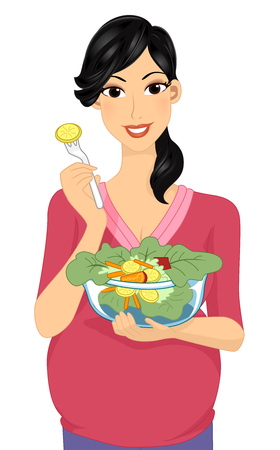 plump: Illustration of a Plump Woman Eating Vegetable Salad