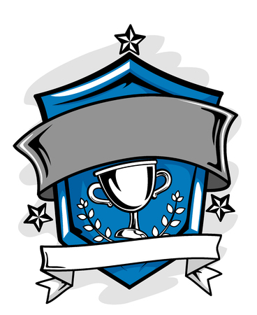 merit: Illustration of a Sports Crest with a Blank Ribbon Below