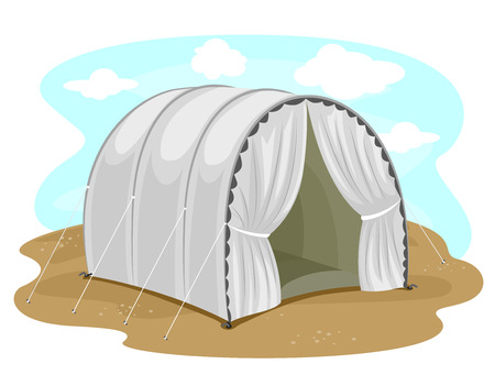 humankind: Illustration Featuring a Vacant Tent at a Refugee Camp Stock Photo