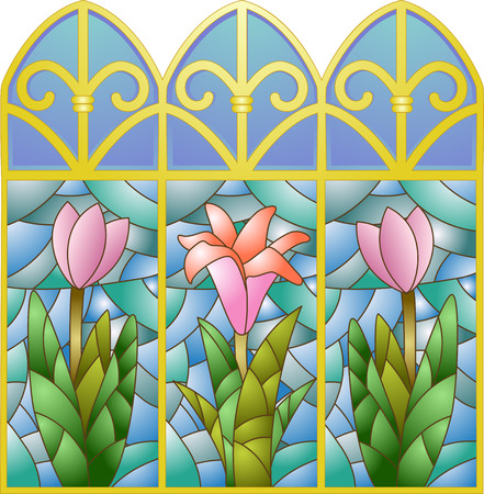 Illustration of Stained Glass Windows with a Floral Design