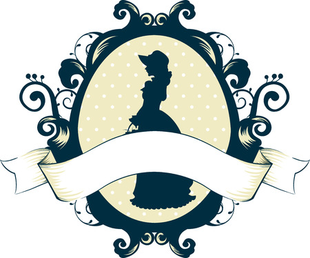 cameo: Cameo Illustration Featuring a Victorian Woman with a Ribbon Underneath Stock Photo