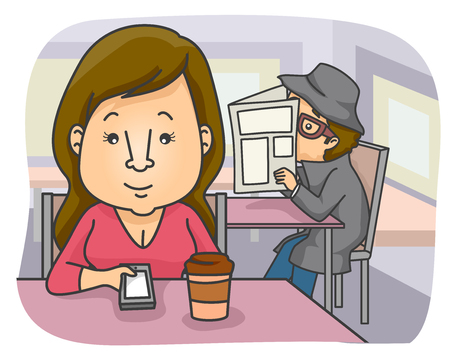 stake: Illustration of a Woman in a Cafe Being Stalked