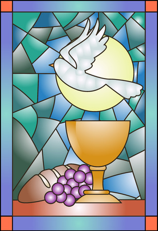 church window: Stained Glass Illustration Featuring Communion Related Items