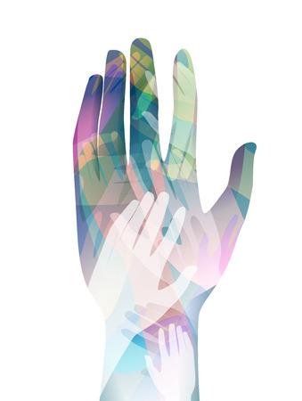 manos unidas: Doble exposición Ilustración de manos unidas - eps10 Foto de archivo