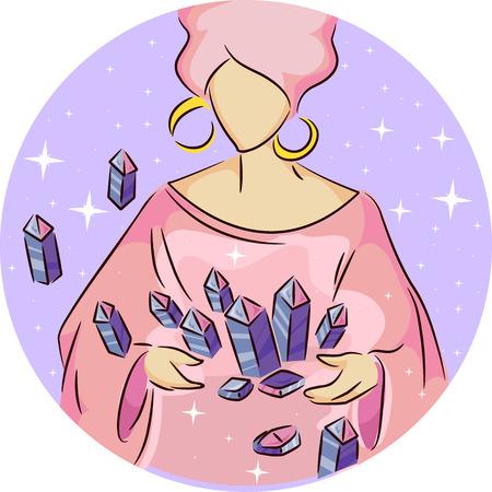 checking: Illustration of a Gypsy Woman Checking Crystals