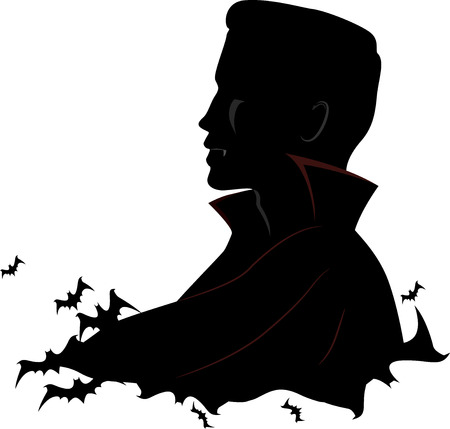 white people: Black and White Illustration Featuring a Vampire Surrounded by Bats Stock Photo
