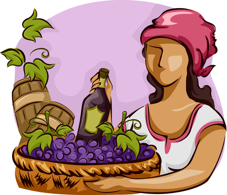 clip art wine: Illustration of a Native Woman Carrying a Basket of Grapes Stock Photo