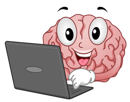 Mascot Illustration of a Brain Conducting an Internet Research
