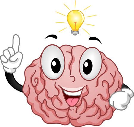 brain clipart: Mascot Illustration of a Brain Having a Light Bulb Moment