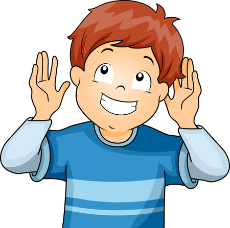 hearing: Illustration of a Little Boy Doing the Listening Gesture