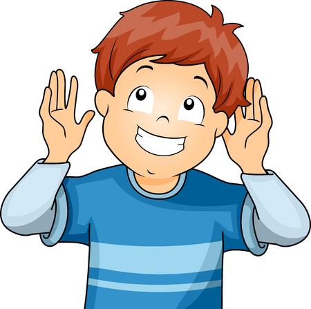 comunicacion no verbal: Ilustración de un niño pequeño haciendo el gesto de escucha