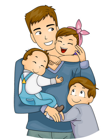 Illustration of Cute Little Kids Hugging Their Father
