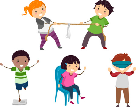 tug war: Stickman Illustration of Children Playing Different Parlor Games