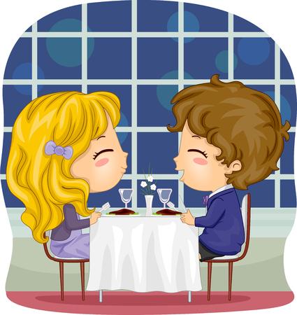 pareja comiendo: Ilustración romántica de una pareja en Kiddie con un elegante restaurante