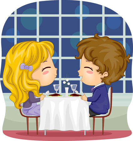 fine dining: Romantic Illustration of a Kiddie Couple at a Fine Dining Restaurant