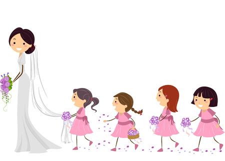wedding  art: Stickman Illustration of Flower Girls Following a Bride Stock Photo
