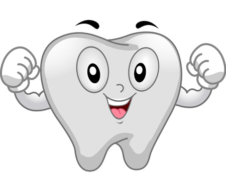 flexing muscles: Mascot Illustration of a Tooth Flexing its Muscles