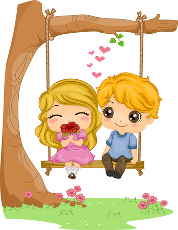 kiddie: Romantic Illustration of a Kiddie Couple Sitting on a Couple Swing