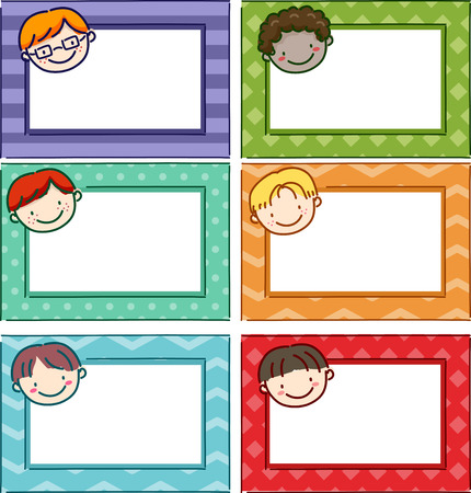 for boys: Illustration Featuring Printable Name Tags for Boys Stock Photo