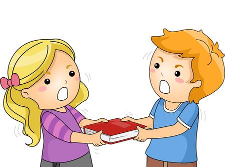 molesto: Ilustración de los niños que luchan sobre un libro