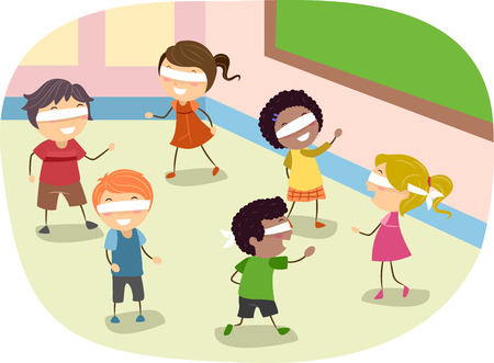 Stickman Illustration of Children Playing a Blindfold Game in Class Stock Photo