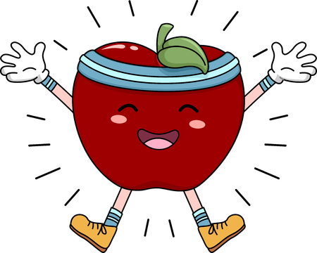 energized: Mascot Illustration of an Apple Doing Jumping Jacks Stock Photo
