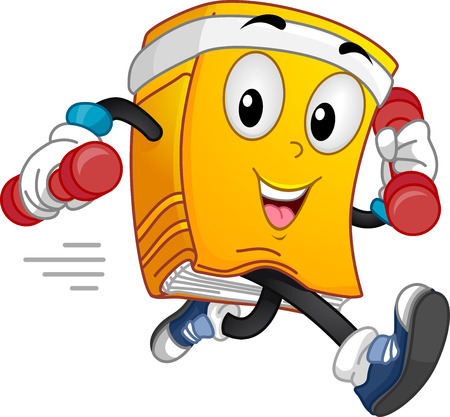 Mascot Illustration of a Book Lifting Dumbbells While Running Stock Photo