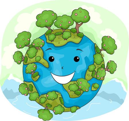 arboles caricatura: Ilustración de la mascota de una tierra feliz cubierta de árboles Foto de archivo