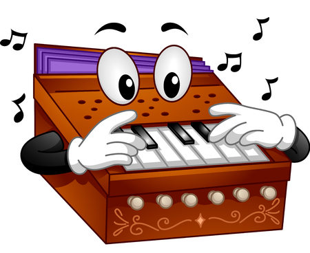 Mascot Illustration of a Harmonium Playing Notes