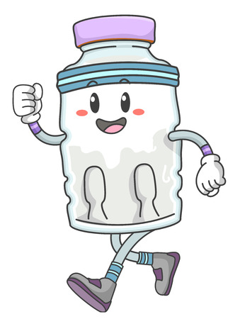 Mascot Illustration of a Bottled Water Going for a Run
