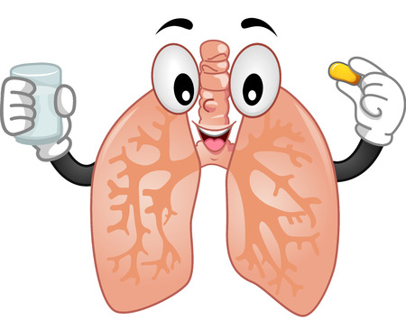 Mascot Illustration of the Lungs Taking a Tablet