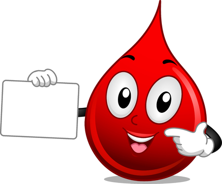 Mascot Illustration of a Drop of Blood Holding a Blank Board Stock Photo