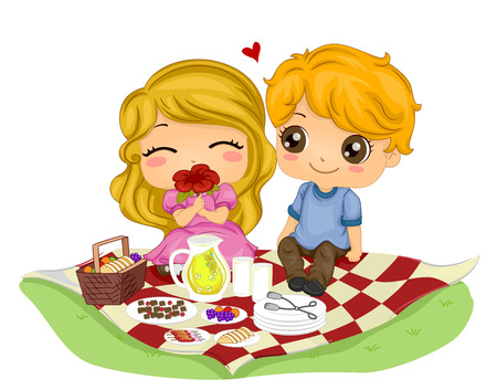 couple date: Romantic Illustration of a Kiddie Couple on a Picnic Date