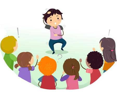 guess: Stickman Illustration of Kids Playing Charades