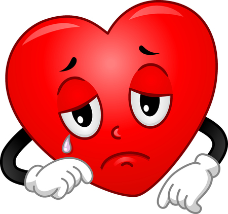 Mascot Illustration of a Heart Shedding a Tear