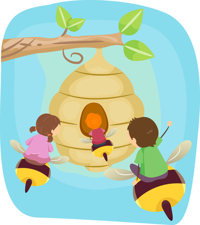 Stickman Illustration of Kids Riding Giant Bees to Get to a Beehive Stock Photo