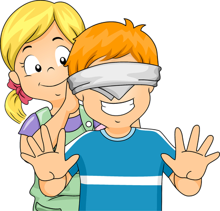 playtime: Illustration of a Little Girl Blindfolding a Little Boy Stock Photo