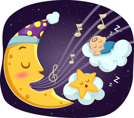 Mascot Illustration of a Crescent Moon Singing a Lullaby