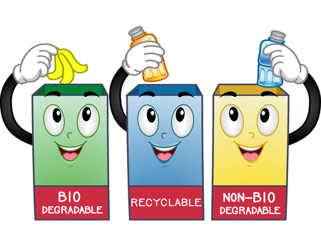 environmental awareness: Mascot Illustration Featuring Recycling Bins Stock Photo