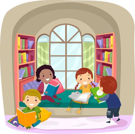 Stickman Illustration of Children Reading Books in a Nook