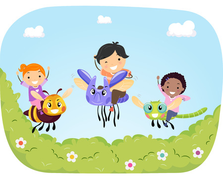 bugs: Stickman Illustration of Kids Riding Giant Bugs Flying Over a Garden
