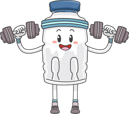 Mascot Illustration of a Bottled Water Lifting Weights Stock Photo