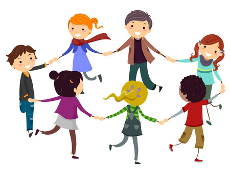 Stickman Illustration of Children Playing Ring Around the Rosey