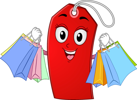 Mascot Illustration of a Happy Price Tag Carrying Shopping Bags Stock Photo