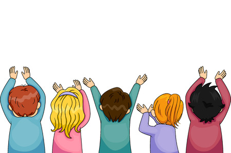 arms outstretched: Border Illustration of Children with Arms Outstretched