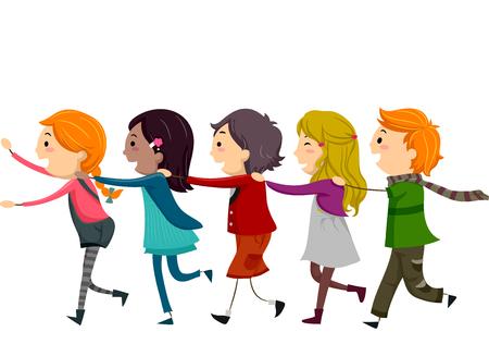 dibujos lineales: Ilustración stickman de niños que forman un tren Humano