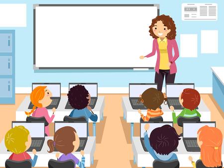 コンピューター クラスで幼児のバッター イラスト 写真素材